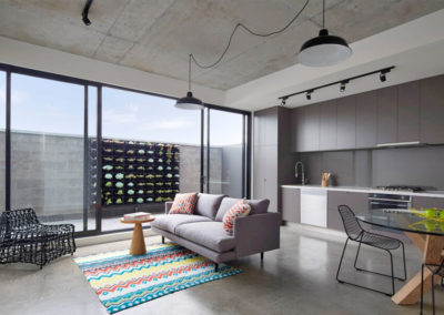 Contemporary Lounge with Polished Concrete Floor