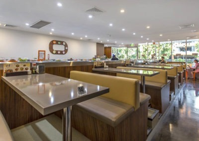 Polished concrete commercial flooring feather finish gloss sushi restaurant