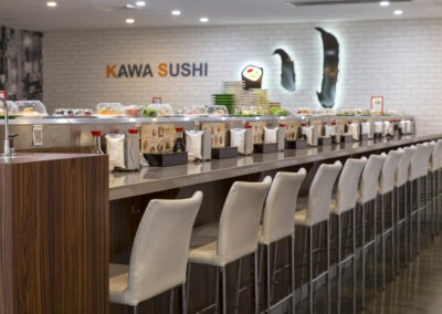 Polished concrete commercial flooring feather finish gloss sushi restaurant2