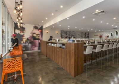 Polished concrete commercial flooring feather finish gloss sushi restaurant4