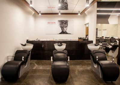 Polished concrete commercial flooring feather finish matte finish hair salon