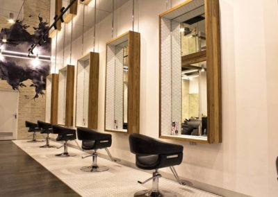 Polished concrete commercial flooring feather finish matte finish hair salon5