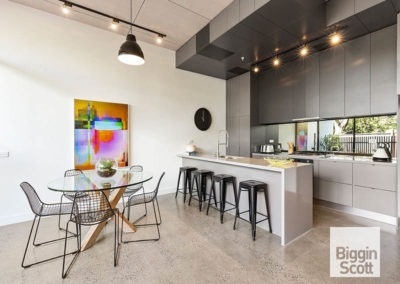 polished concrete kitchen flooring